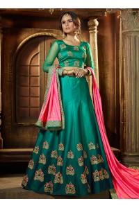 Turquoise satin silk wedding lehenga choli