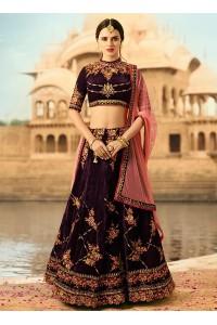 Wine color velvet wedding lehenga choli