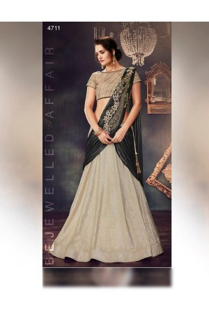 Cream lycra wedding lehenga choli