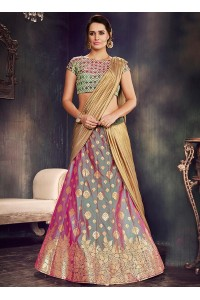 Green and purple two tone silk wedding lehenga choli