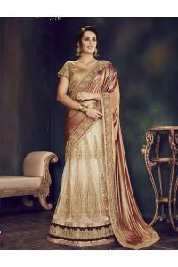 Off white net wedding lehenga choli