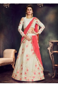Off white weaved silk wedding lehenga choli