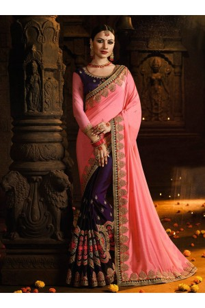 Pink and wine color silk designer party wear saree
