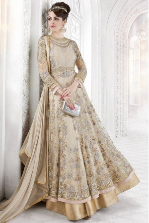 Beige color net party wear anarkali