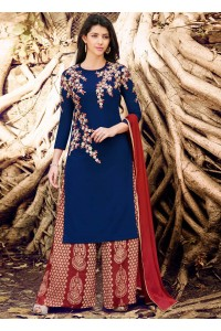 Navy blue color georgette straight cut salwar kameez