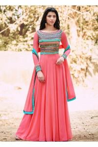 Pink color georgette straight cut salwar kameez