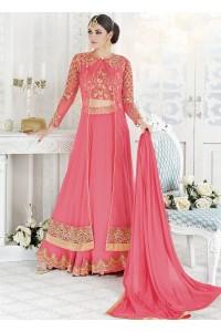 Pink color georgette wedding ghaghara