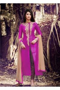 Rani color handloom silk straight cut salwar kameez