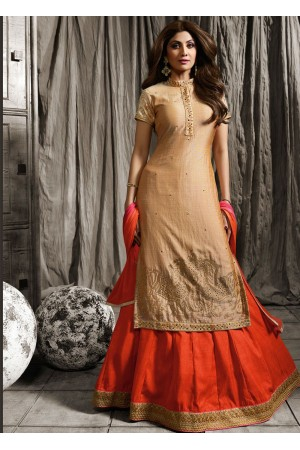 Shilpa shetty golden beige color raw silk lehenga kameez