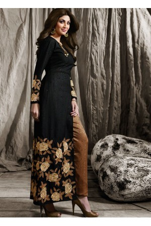 Shilpa shetty black color raw silk party wear kameez