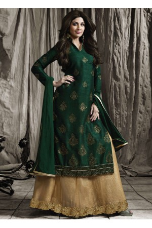 Shilpa shetty green color raw silk lehenga kameez