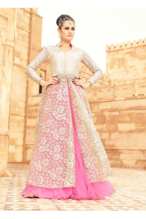 White and pink net party wear lehenga kameez