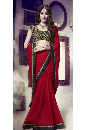 Party-wear-dark-red-color-saree