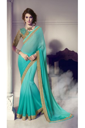 Party-wear-green-gold-color-saree