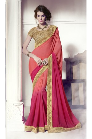 Party-wear-pink-peach-3-color-saree