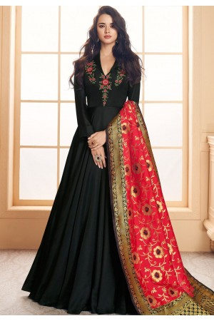 black satin long embroidered gown style suit 5021