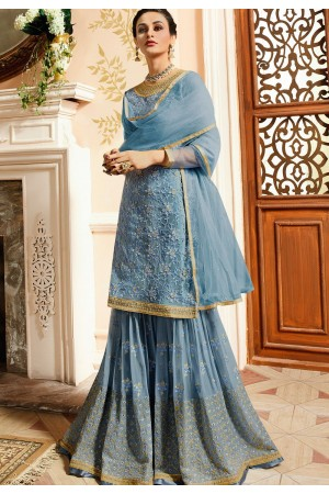 blue satin net embroidered sharara style pakistani suit 15303