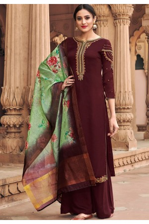 brown georgette satin palazzo style suit 6605
