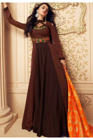 brown satin long embroidered gown style suit 5017
