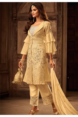 cream georgette satin embroidered trouser style pakistani suit 29007