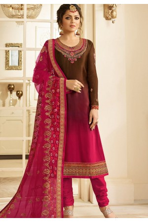 drashti dhami brown pink satin georgette embroidered churidar suit 3209