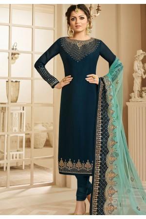 drashti dhami dark blue satin georgette embroidered churidar suit 3205