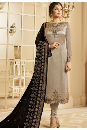 drashti dhami grey satin georgette embroidered churidar suit 3207