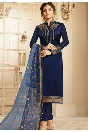 drashti dhami navy blue satin georgette embroidered churidar suit 3202