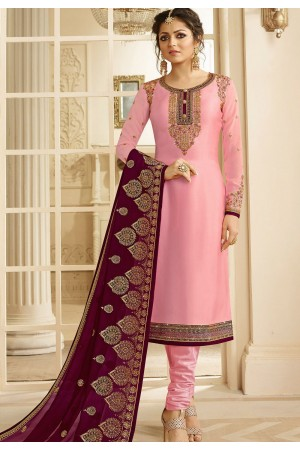 drashti dhami pink satin georgette embroidered churidar suit 3203