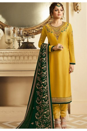 drashti dhami yellow satin georgette embroidered churidar suit 3204