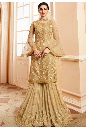 golden satin net embroidered sharara style pakistani suit 15302