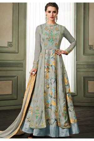 grey georgette long embroidered anarkali suit 37004