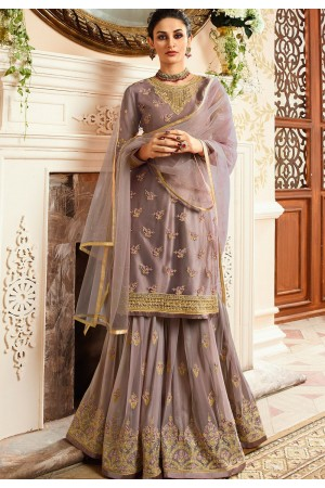 grey satin net embroidered sharara style pakistani suit 15301