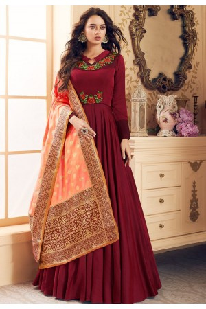 maroon satin long embroidered gown style suit 5020