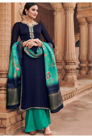 navy blue georgette satin palazzo style suit 6602