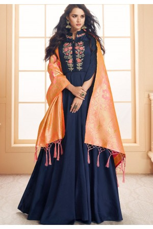 navy blue satin long embroidered gown style suit 5019