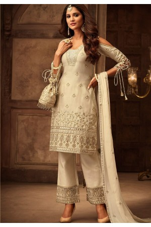 off white georgette satin embroidered trouser style suit 29003