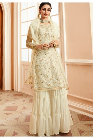 off white satin net embroidered sharara style pakistani suit 15304