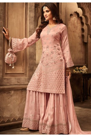 peach georgette satin heavy embroidered sharara style pakistani suit 29001