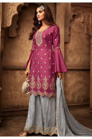 pink grey georgette satin embroidered palazzo style pakistani suit 29006