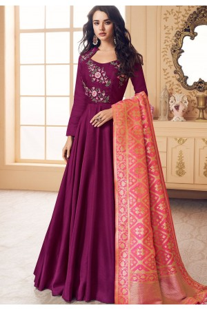 purple satin long embroidered gown style suit 5016