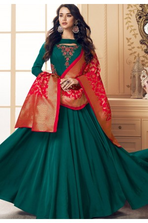 turquoise satin long embroidered gown style suit 5018