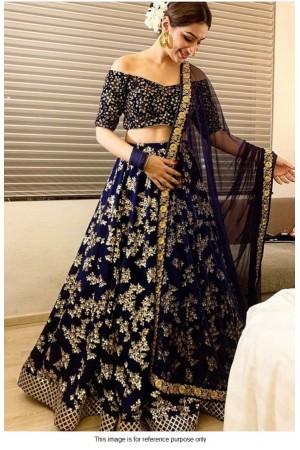 Bollywood model Navy blue tafetta silk lehenga choli