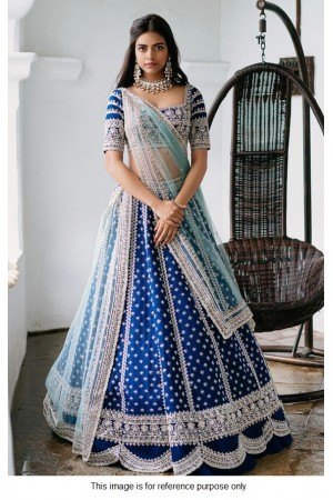 Bollywood model blue tafetta silk wedding lehenga