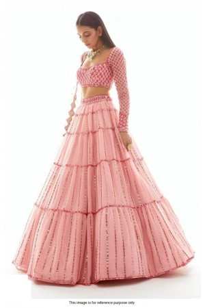 Bollywood model light pink net lehenga choli