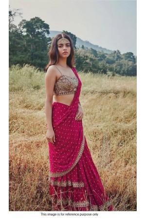 Bollywood model pink mirror work ruffle saree