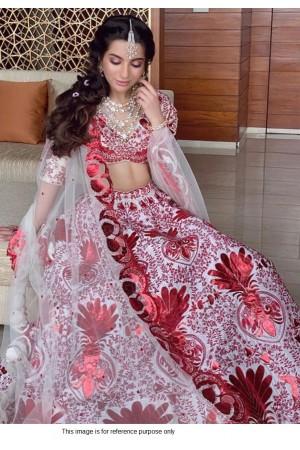 Bollywood model white tafetta silk lehenga choli