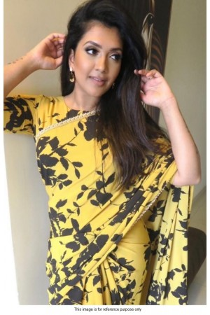 Bollywood model Yellow digital print floral saree