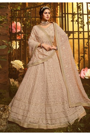 Light brown georgette circular lehenga choli 3906
