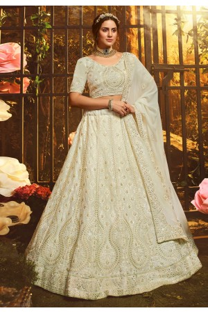 Off white georgette circular lehenga choli 3902